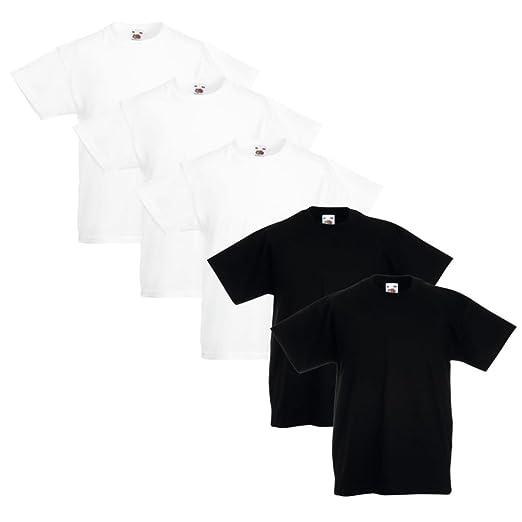 Festnight Pack de 5,Camisetas para Niños,100% Algodón,3 Blancas+2 ...