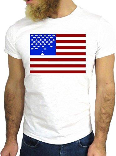 T-SHIRT JODE GGG24 HZ0551 FLAG COOL VINTAGE ROCK FUNNY FASHION CARTOON NICE AMERICA BIANCA - WHITE M