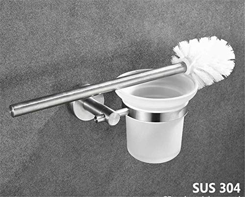 (QiXian Bathroom Accessories Toilet Brush Holders with Frosted Glass Sus304 Stainless Steel Escobilla Wc Toilet Brush Holder Bathroom Accessories Strong Sturdy)