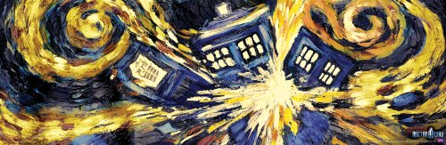 Culturenik Doctor Who Exploding Tardis TV Show Poster (Van Gogh's Exploding Tardis) Poster Print 12x36