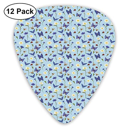 Guitar Picks 12-Pack,Spring Bees Flying Botany Chamomiles Butterflies Revival Pansy Essence Of Nature