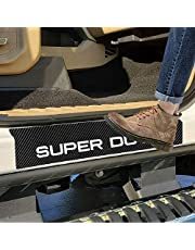 SENYAZON Super Duty calcomanía de vinilo reflectante de fibra de carbono para puerta de coche, placa de rozaduras para Ford Super Duty