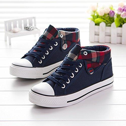 Summerwhisper Womens À La Mode Haute Haut Lacets Chaussures De Toile Plimsolls Skate Sneakers Bleu