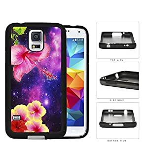 Exotic Hipster Pink/Yellow Flowers with Purple Nebula Samsung Galaxy S5 SM-G900 Hard Snap on Plastic Cell Phone Cover
