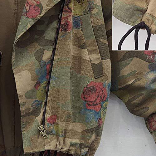 Moda Autunno Cappotto Stampate Tasche Baggy Con Casual Tarnung Cerniera Laterali Camuffare Lunga Giacca Donna Marca Mode Di Manica Bavero Outwear Coat 5XnwBqOx