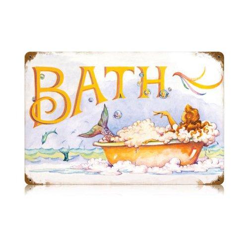 Mermaid Bath Bathroom Door Home Garage Vintage Metal Sign 18 X 12 Steel Not Tin