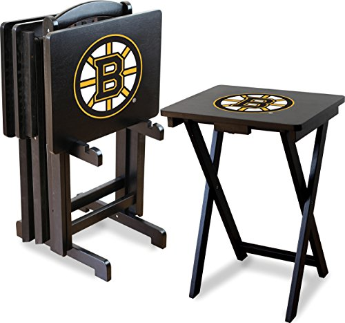 Bruins Table - Imperial Officially Licensed NHL Merchandise: Foldable Wood TV Tray Table Set with Stand, Boston Bruins