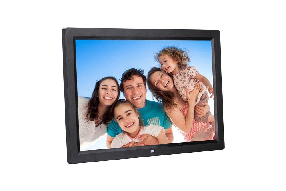 Chezaa 17inch HD Ultra-Thin Digital Photo Frame,Human Sensing,Front Screen Button,Creative High-Definition Senso,for Home Bedroom (Black)