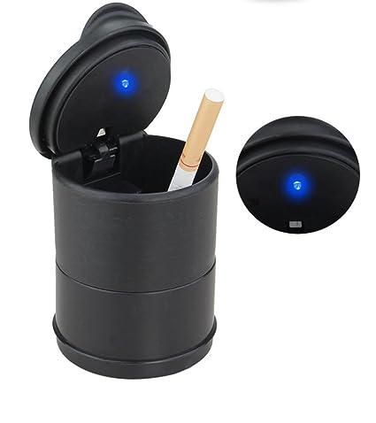 MTSZZF Cenicero del Coche con LED Azul - Portavasos de Plastic para Cenicero con Tapa y