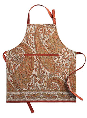 Maison d' Hermine Kashmir Paisley 100% Cotton Apron with an adjustable neck & hidden center pocket , 27.50 - inch by 31.50 - inch (Apron Thanksgiving)