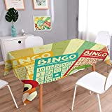 L-QN Table in Washable Polyeste Bingo Game with Ball and Cards Pop Art Stylized Lottery Hobby Celebration Theme Banquet Wedding Party Restaurant Tablecloth 52''x70''