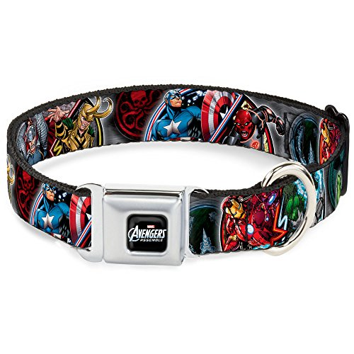 Buckle-Down Seatbelt Buckle Dog Collar - Marvel Avengers Superhero/Villain Poses - 1