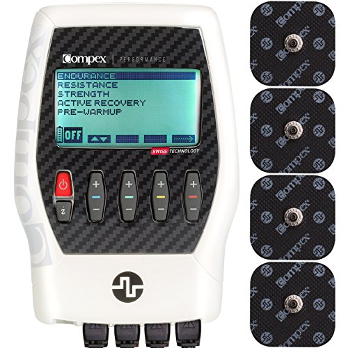 Compex Performance Tactical White Muscle Stimulator Bundle Kit: Muscle Stim, 12 Snap Electrodes, 5 Programs, Lead Wires, Battery, Case / Strength, Recovery, Endurance, Resistance, Pre-Warm Up by Compex