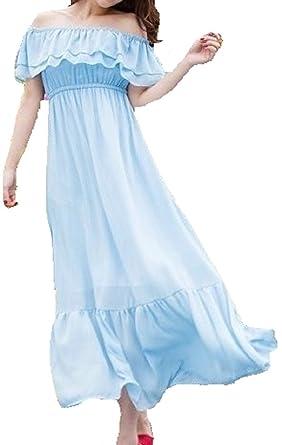 eb17183d61d53 インポート ピンク importpink 水色 フリル シフォン オフショル マキシ ワンピース パーティー ドレス М