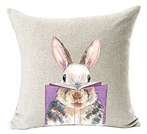 Nordic Simple Ink Painting Watercolor Animal Adorable Bunny Rabbit Reading Books Spring Easter Gifts Cotton Linen Throw Pillow Case Cushion Cover NEW Home Office Decorative Square 18 X 18 Inches