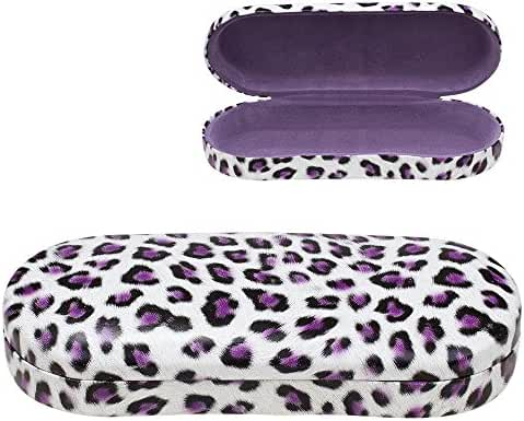 Hard Clamshell Eyeglass Case, Leopard Print Protective Glasses and Sunglasses Holder - For Kids & Adults, Men & Women - by OptiPlix