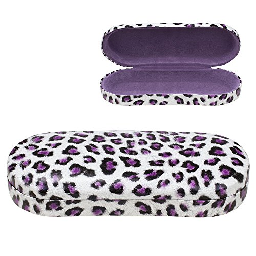 Glasses Eyeglasses Sunglasses Shell (Hard Clamshell Eyeglass Case, Leopard Print Protective Glasses and Sunglasses Holder - For Kids & Adults, Men & Women - Purple - by OptiPlix)
