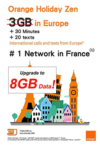 Orange Holiday Europe - 3GB Internet Data in 4G/LTE (currently 8GB promotion for SIMs activated before November 14th) + 30mn + 200 Texts from 30 Countries in Europe to Any Country Worldwide (Best Store Cards Australia)