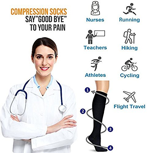 Compression Socks (7 pairs) for Women & Men-for Medical, Nursing, Running & Fitness, Edema, Diabetic, Varicose Veins, Travel & Flight, Pregnancy, Nurses-Blood Circulation & Recovery (Black, S/M)
