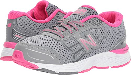 New Balance Girls' 680v5 Running Shoe, Steel/Pink Glo, 2 M US Little Kid
