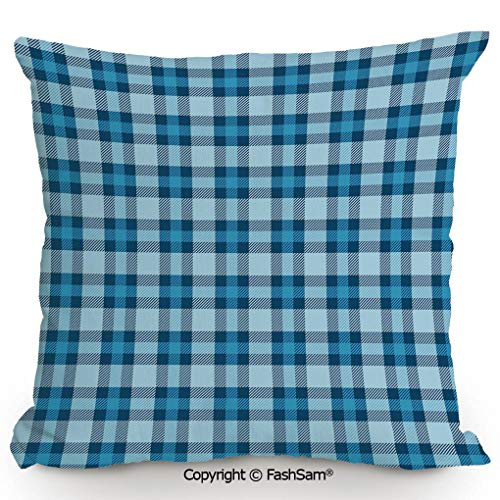 FashSam Decorative Throw Pillow Cover Intersecting Stripes and Squares Picnic Themed Tile Pattern in Blue Colors Decorative for Pillow Cover for Living Room(14