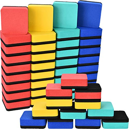Blulu 48 Pieces Mini Magnetic Whiteboard Erasers Dry Erase Erasers Chalkboard Erasers for Home Classroom Office Use (Mixed Colors, 1.97 x 1.97 Inches) by Blulu (Image #2)