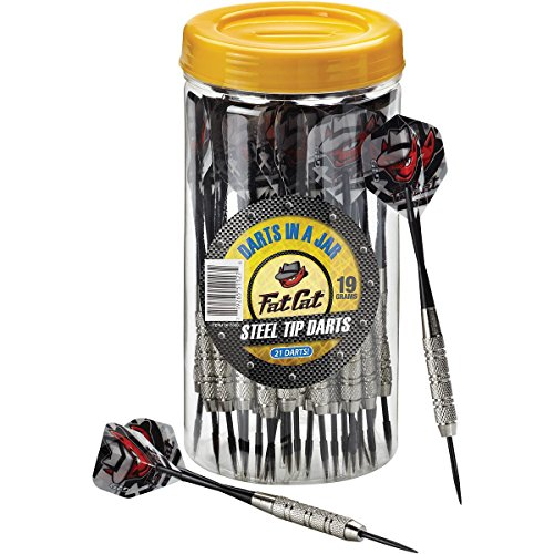 (Fat Cat Darts in a Jar: Steel Tip Darts with Storage/Travel Container, 19 Grams (Pack of 21))
