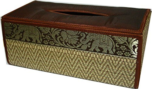 TOPMOST N-9003, Handmade Thai Woven Straw Reed Rectangular Tissue Box Holder with Silk Elephant Design 5x3.7x10.2 Inch, Dark Red by Topmost