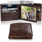 Men's Genuine Leather Bifold Slim Wallet RFID Blocking Secure with ID Window 16 Crad Holder Gift Box (Brown)