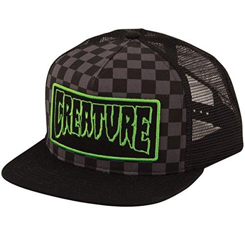 Checker Cap Hat - Creature Skateboards Patch Trucker Hat - Black Checker