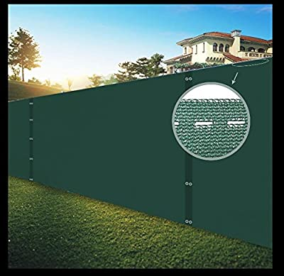 Shatex Pro Security & Privacy Windscreen, Dark Green, with Lock Holes and Zip Ties for Quick Installation, Heavy Duty Shade Mesh Fence for Garden Yard, Construction Site, Deck, Balcony
