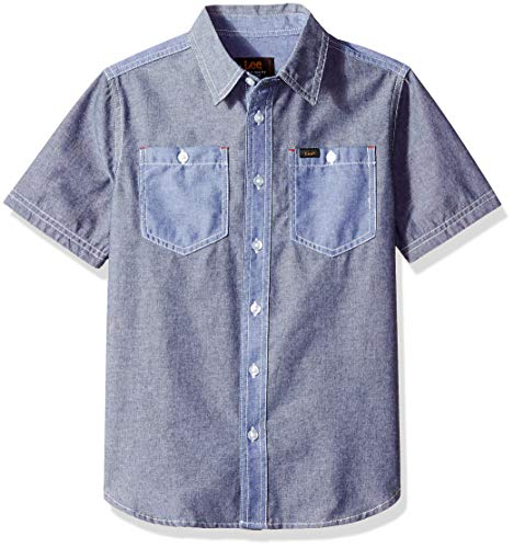 Drees Up Boys (LEE Boys' Big Short Sleeve Button Up Shirt, Navy,)