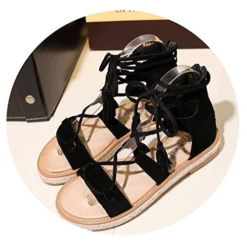 Women Lace-up Shoes Peep Toe Flat Sandals Tassel Cross Tied Beach Shoes Black ()