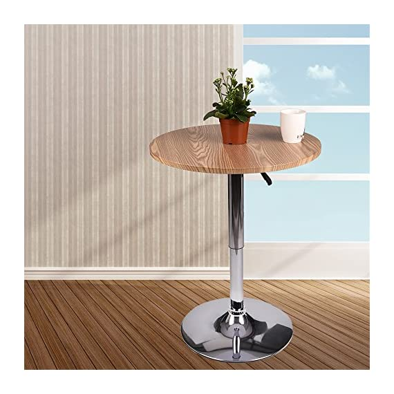 Adjustable Bar Table –Swivel Round Pub Table MDF Top with Black Back Base for Home Kitchen Bistro (Natural Wood) - 【Modern Style】This bar table combines classic and modern style, so it is perfect for your restaurant, bistro, coffee house, patio, home kitchen or any other decor theme. 【Round bar table size】23.6 inch swivel top, adjustable height: 27.5-35.8inch weight capacity: 300lbs, durable and lasting long 【Height Adjustable】Features an adjustable pneumatic, gas-lift mechanism, easily and safely. - kitchen-dining-room-furniture, kitchen-dining-room, kitchen-dining-room-tables - 51EoEOH n1L. SS570  -