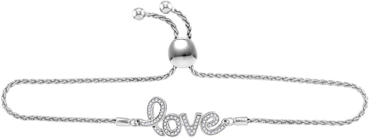 Sterling Silver Womens Round Diamond Love Word Bolo Adjustable Bracelet Cttw
