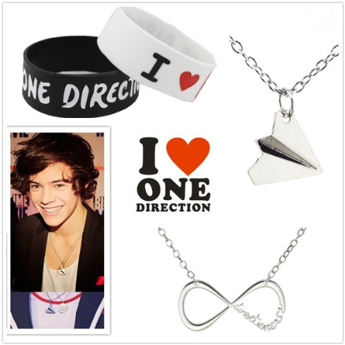 Fun Daisy Direction Fans Lover Set - Infinite Direction Necklace + Harry Styles Airplane Necklace + 2pcs Wristband