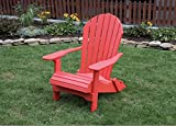 BRIGHT RED-POLY LUMBER Folding Adirondack Chair with Rolled Seating Heavy Duty EVERLASTING Lifetime PolyTuf HDPE - MADE IN USA - AMISH CRAFTED