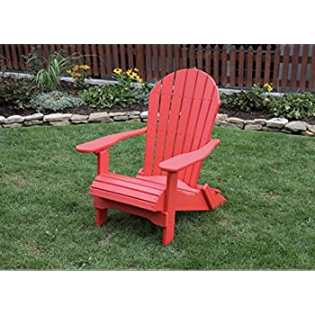 BRIGHT RED POLY LUMBER Folding Adirondack Chair With Rolled Seating Heavy  Duty EVERLASTING Lifetime PolyTuf