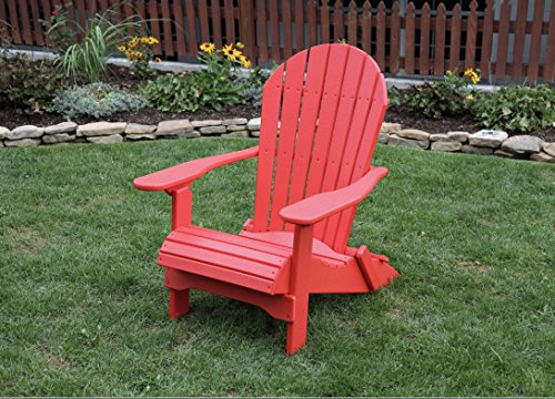 BRIGHT RED-POLY LUMBER Folding Adirondack Chair with Rolled Seating Heavy Duty EVERLASTING Lifetime PolyTuf HDPE – MADE IN USA – AMISH CRAFTED