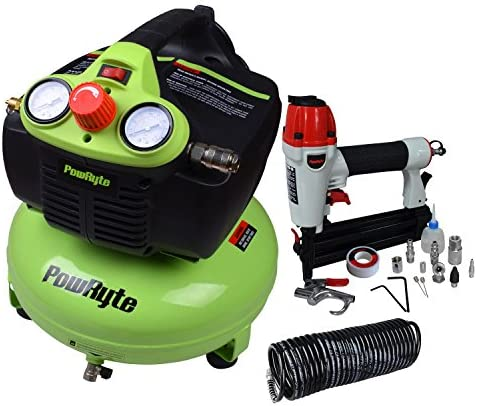 PowRyte Elite 4 Gallon Oil-Free Pancake Portable Air Compressor & 2 In 1 NailerStapler Kit / PowRyte Elite 4 Gallon Oil-Free Pancake Portable Air Compressor & 2 In 1 NailerStapler Kit