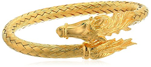 (Women's 14K Yellow Gold Plated Sterling Silver Horse Bypass Braided Bangle Bracelet )