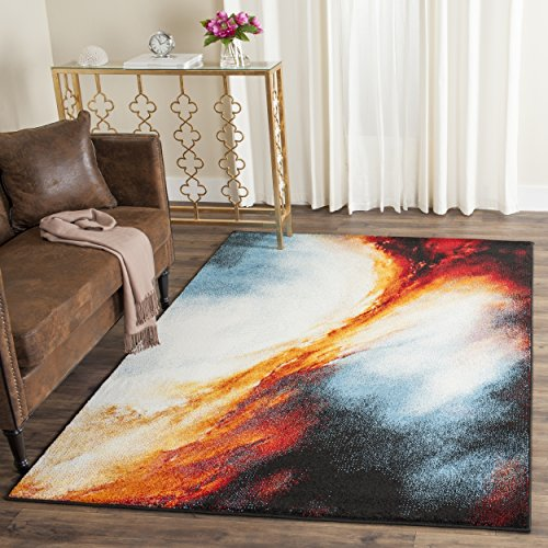 Safavieh Galaxy Collection GAL111D Abstract Watercolor Orange and Multi Area Rug (5' x 8')