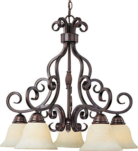 Maxim 12206FIOI Manor 5-Light Chandelier, Oil Rubbed Bronze Finish, Frosted Ivory Glass, MB Incandescent Incandescent Bulb , 100W Max., Dry Safety Rating, Standard Dimmable, Opal Glass Shade Material, 3450 Rated (Manor Oil Rubbed Bronze Chandelier)