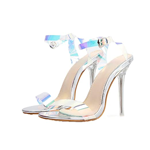 7f34b45212 Copercn Womens Ladies Fashion Simple Holographic Transparent One Band Open  Toe Single Ankle Buckle Strap Acrylic