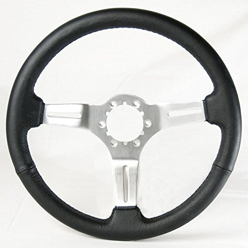 Corvette Auto Pro Steering Wheel Black Leather With Brushed Spokes Ecklers Premier Quality Products 25-106352