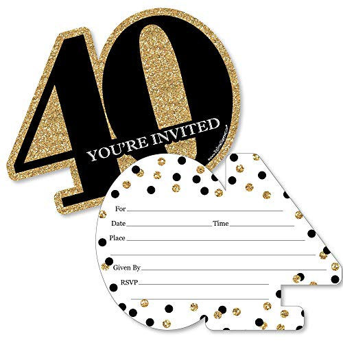 Adult 40th Birthday - Gold - Shaped Fill-In Invitations - Birthday Party Invitation Cards with Envelopes - Set of 12 -
