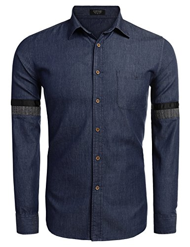 Coofandy Men's Casual Button Down Slim Fit Denim Shirt with Chest Pocket (Pocket Chest Jeans)