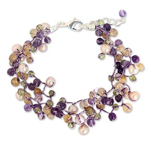 NOVICA Multi-Gem Amethyst Cultured Freshwater Pearl Silver Plated Beaded Bracelet 'Mystic Passion'