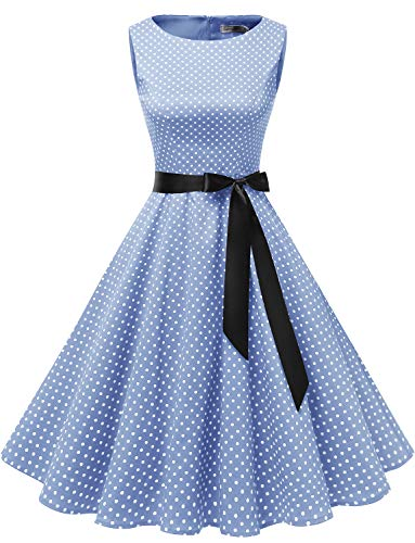 Gardenwed Women's Audrey Hepburn Rockabilly Vintage Dress 1950s Retro Cocktail Swing Party Dress Blue Small White Dot XS -