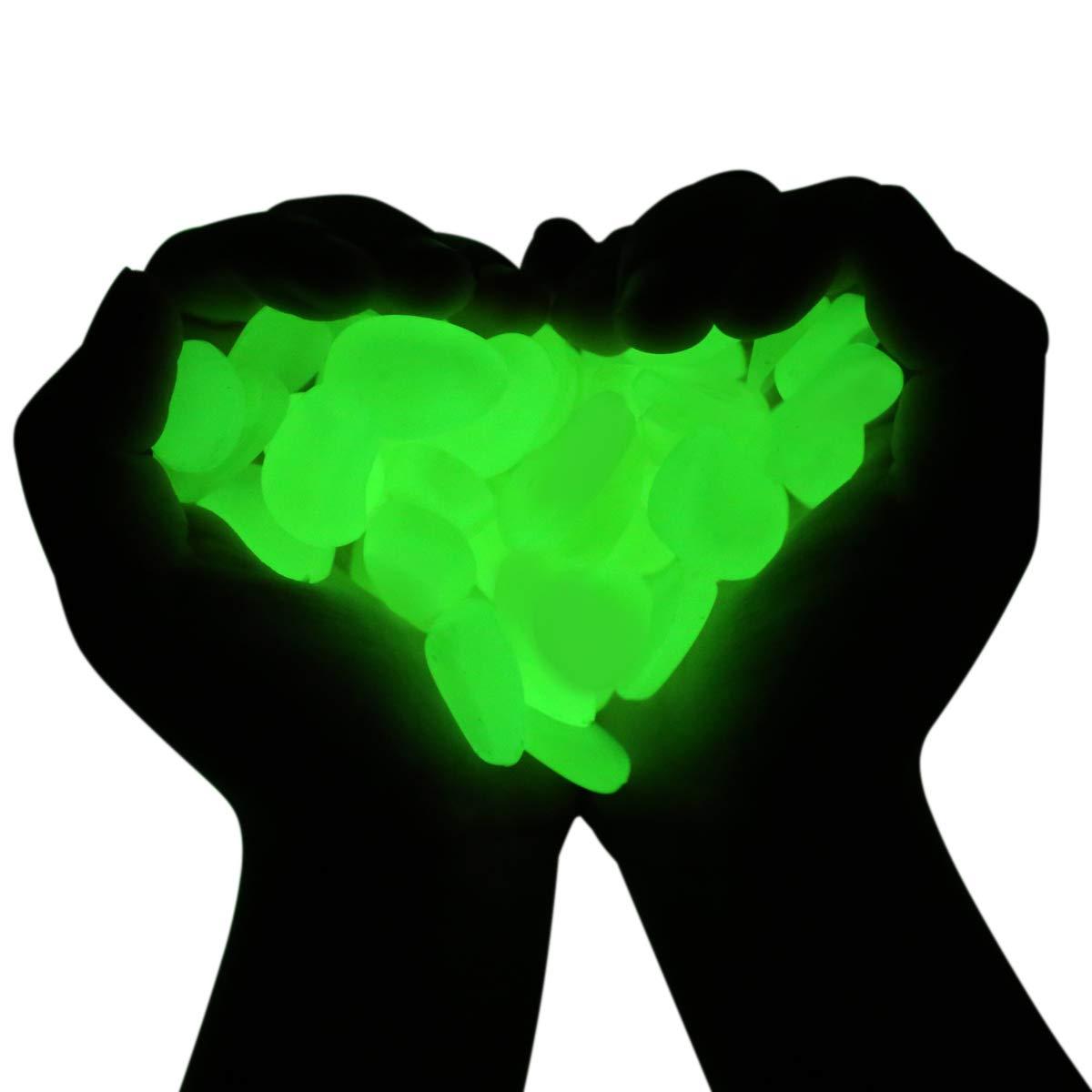 MEYUEWAL Glow in The Dark Pebbles 200PCS Glow Stones Luminous Pebbles for Walkways, Path, Gardens, Lawns, Driveways, Plants, Fish Tank, Aquarium (Green)